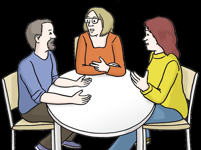 Menschen reden am Tisch