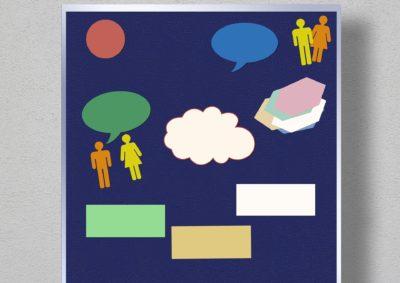 Eine Pinnwand mit unbeschrifteten Moderationskarten